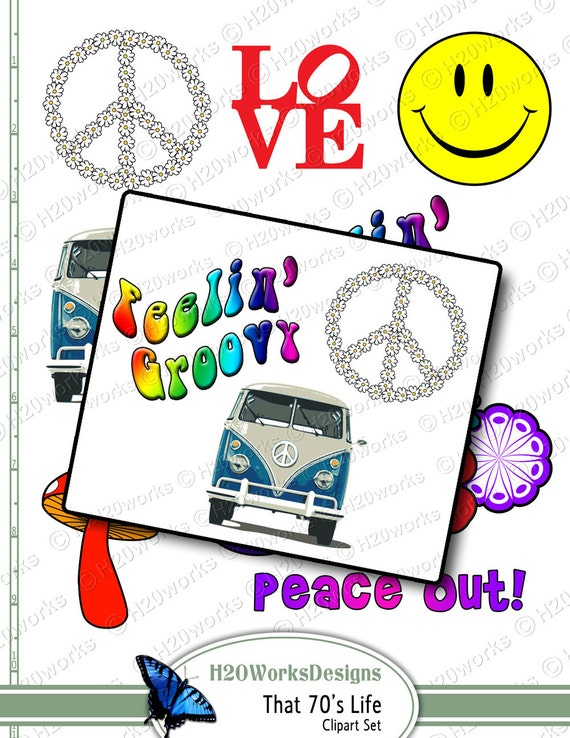 70's, Hippie, Retro Clipart on 8.5x11 Sheet - Peace Sign, Smiley, Van, Mushroom, LOVE, Flower Power, Vintage, INSTANT DOWNLOAD