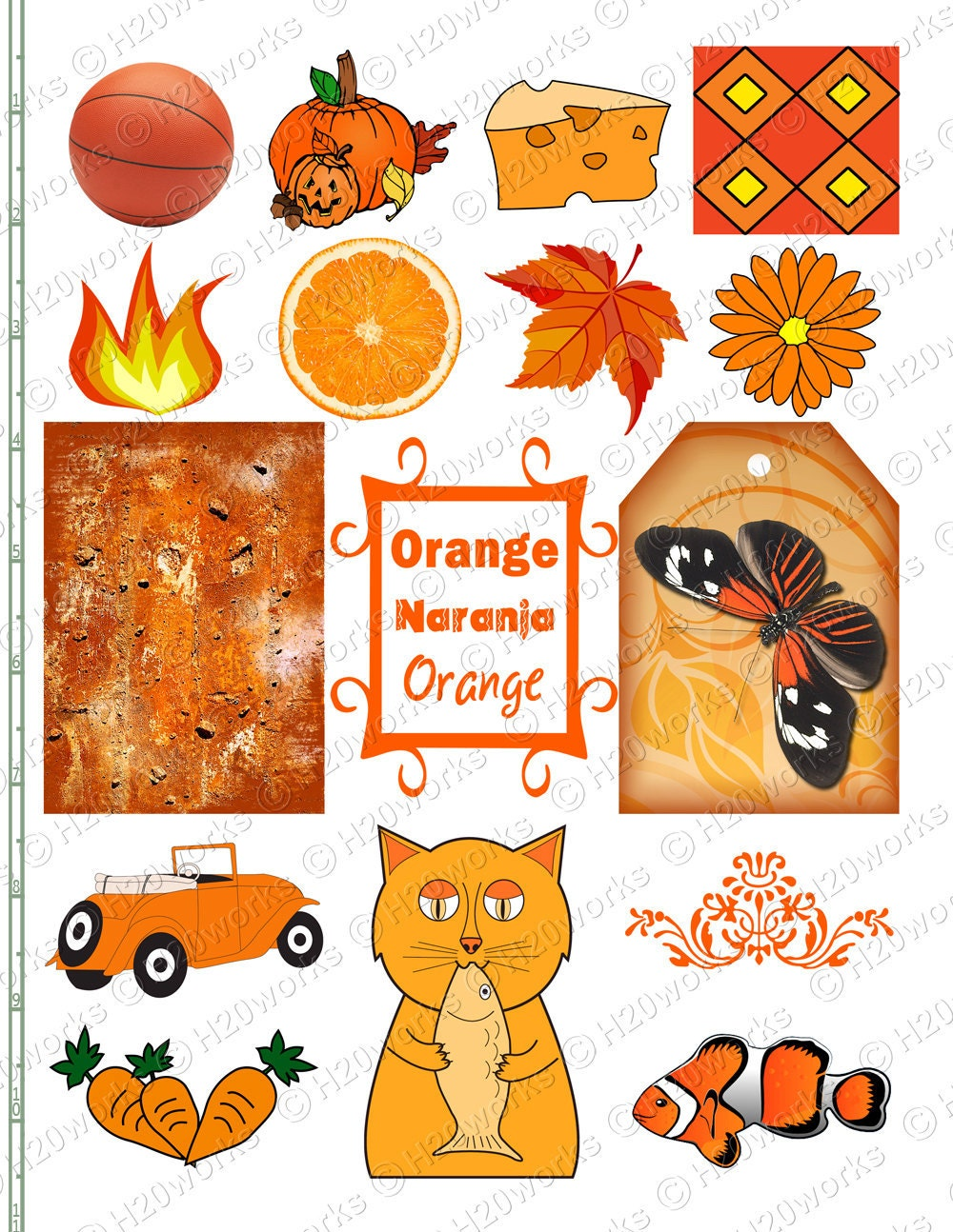 Orange stuff things objects naranja aceo tag butterfly for Orange colour things