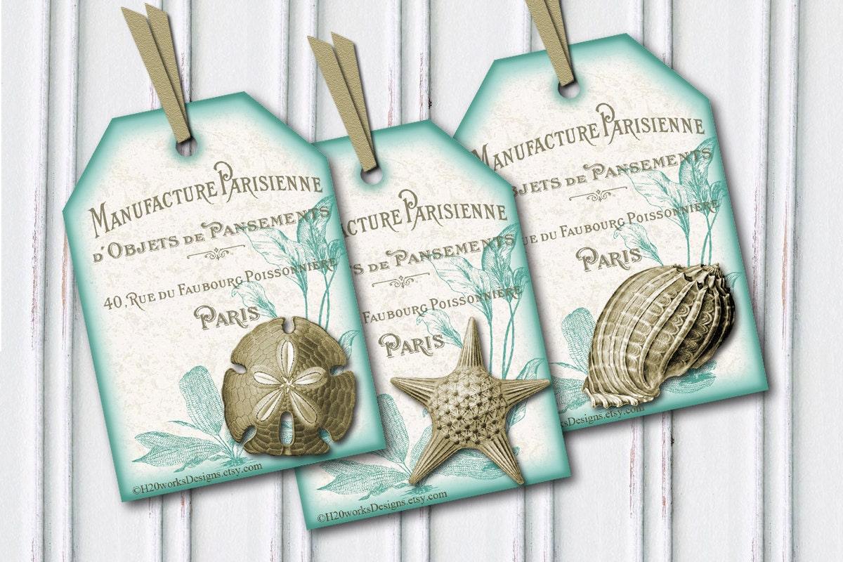 seashell tags aqua u0026 white tags shabby chic french country