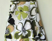 Bold green floral print upcycled dress - child size 2T