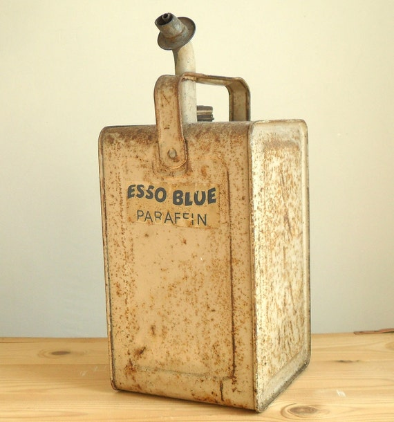 Vintage rustic industrial Esso Blue Paraffin oil can
