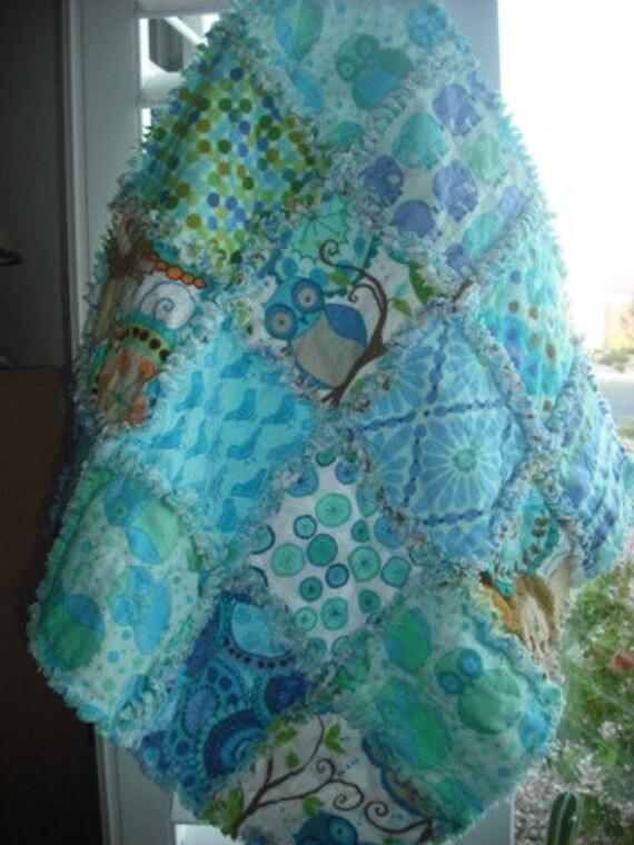 Rag Quilt Baby/Toddler Flannel Reversible Lovey Mini Travel Quilt