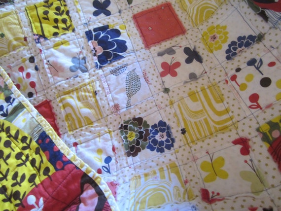 Reserved  for Bridget......Butterflies, Birds and Flowers................A Fray Edge Quilt