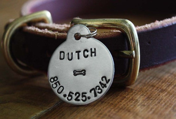 Small Round Personalized Dog ID Tag
