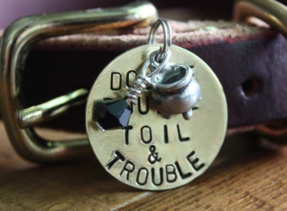 Double Double Toil and Trouble Halloween Flare Tag