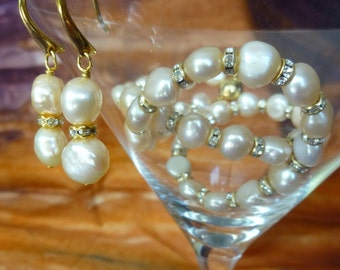 Ivory freshwater pearl and swarovski crystal necklace and earrings