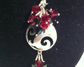 Red and Black Crystal and Silver Disk Pendant