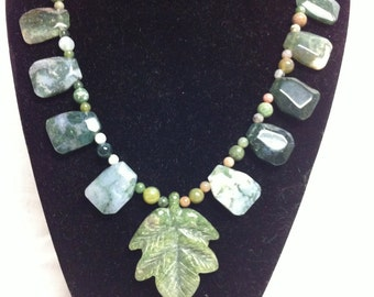 Green Maple Leaf Necklace