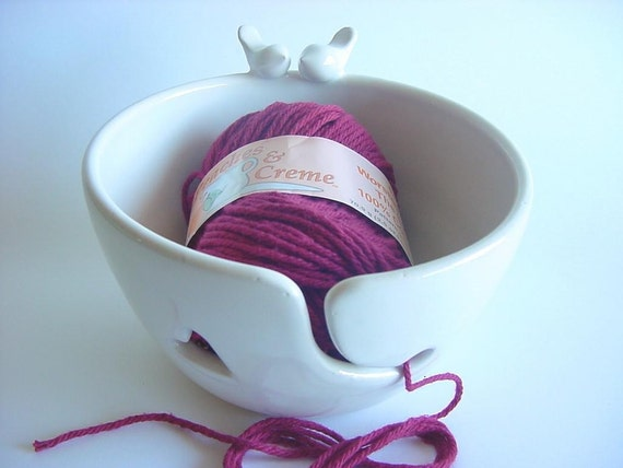 Lovebirdies Yarn Bowl, handmade stoneware  pottery glazed in rich, smooth, white glaze.