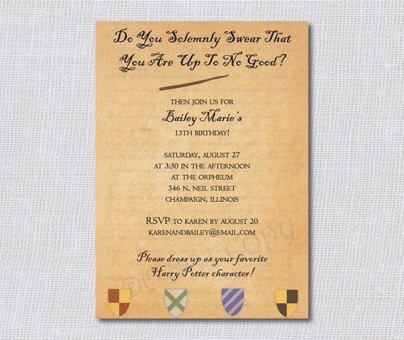 Harry Potter Birthday Invitations wblqualcom