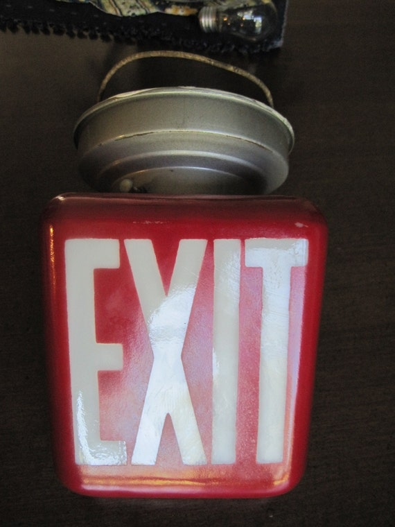 Vintage Art Deco Milk Glass Red Triangle Exit Sign With Light