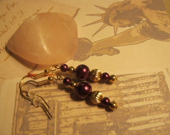 Gold and burgandy earrings