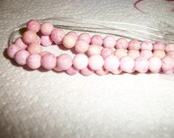 pink riverstone, 6mm,  15inch strand