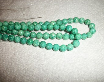 handcut, green riverstone, 6mm round,Sold in one 15 inch strand