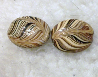23x30mm oval, multibrown swirls,lampworked glass, Sold per pkg of 2