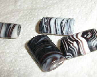 17x12mm 20x13mm black and white, puffed rectangle, lampworked glass , per 23 pcs