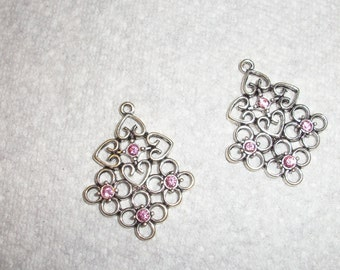 antiqued silver with pink Swarovski crystal, Sold per pkg of 2