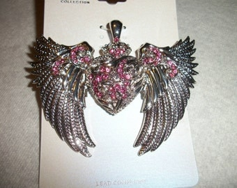 western pink crystal heart with wings pendant