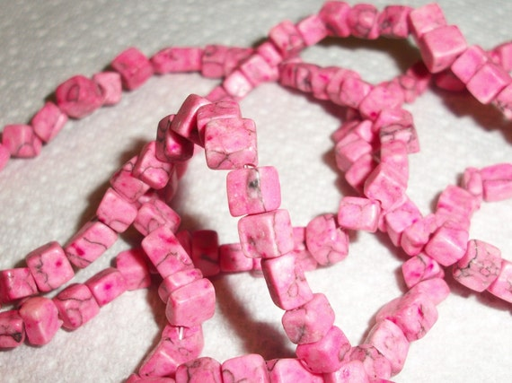 Bead, turquoise ,imitation,dyed, pink, 4x4mm 9x5mm cube