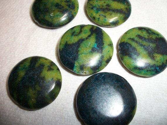 """yellow """"turquoise"""", blue, 30mm flat round, Sold per 6pcs"""
