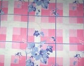 VINTAGE TABLECLOTH  TABLE CLOTH PINK WITH PERIWINKLE BLUE LEAVES