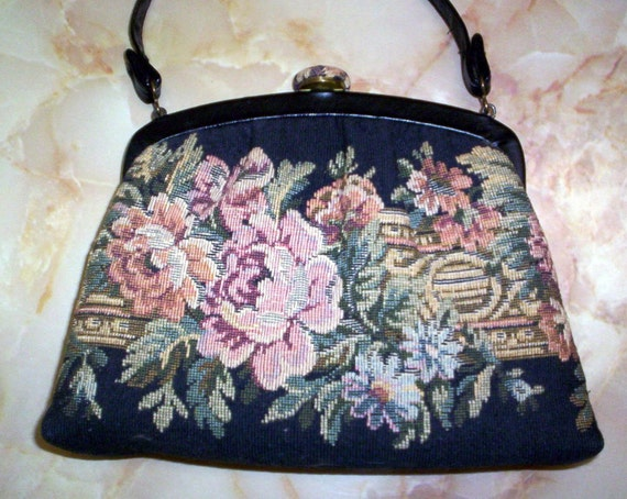 VINTAGE TAPESTRY PURSE BAG HANDBAG BY  H L USA
