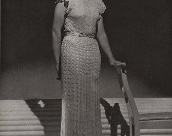PDF of Minerva's Ritz Tower Velveen Dinner Dress Knitting Pattern No. 3622, c. 1934