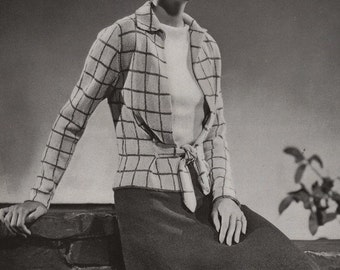 Vintage Knitting Pattern PDF of Minerva's Briarcliffe Two Piece Dusteen Suit and Velveen Blouse Knitting Pattern No. 3604, c. 1934