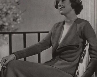 PDF of Minerva's Vassar Three Piece Vicuna Suit Knitting Pattern No. 3609, c. 1934