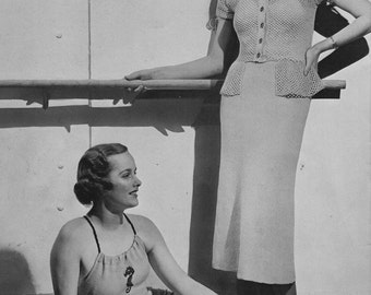 PDF of Minervas Stresa Venice Crocheted Blouse and Knitted Skirt Pattern, c. 1935