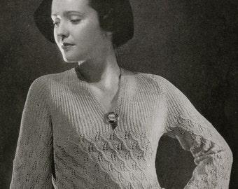 Vintage Knitting Pattern PDF- Minerva's Empire Dress, c. 1934