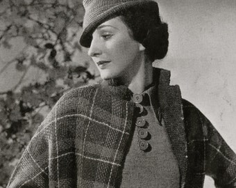 PDF of Minervas Glengary Two Piece Suit Vintage Knitting Pattern, c. 1934