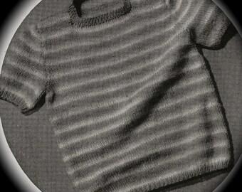PDF Toddler Striped Short Sleeve Sweater Vintage Knitting Pattern, c. 1943