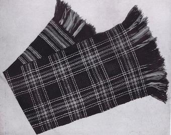 PDF of Minervas Princess Mary Plaid Vintage Scarf Knitting Pattern, c. 1942