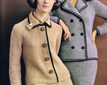 PDF of Minervas Double Breasted Suit Vintage Crochet Pattern, c. 1950s