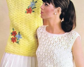 PDF of Minervas Crew Neck Shell Stitch Shell Vintage Crochet Pattern, c. 1950s