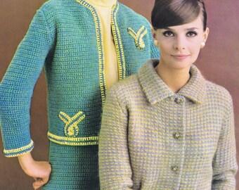 PDF of Minervas No-Collar Suit Vintage Crochet Pattern, c. 1950s