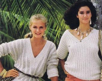 Original Summer Vintage Knitting Books by Bucilla, 1980s styles- Women's Sweaters