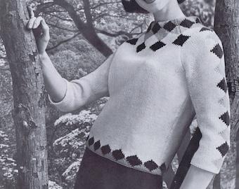 Women's 3/4 Sleeve Diamond Sweater Vintage Knitting Pattern PDF,  1950s