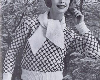 Scarf-Neck Sweater Vintage Knitting Pattern PDF,  1950s