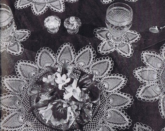 Placemat, Centerpiece, Side Dish Doily, and Coaster Doily Luncheon Set Pineapple Doily Vintage Crochet Pattern PDF, c. 1946