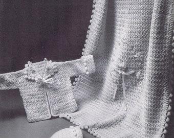 Baby Blanket Vintage Crochet Pattern PDF- Popcorn Stitch Pom Pom Details, c. 1961