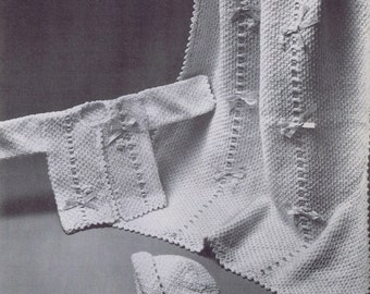 Baby Blanket Vintage Knitting Pattern PDF- Bobbles and Bows, c. 1961