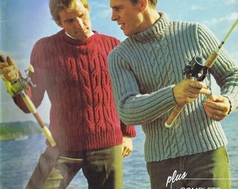 Mens Cabled Boat-Neck Sweater Vintage Knitting Pattern PDF, 1960s
