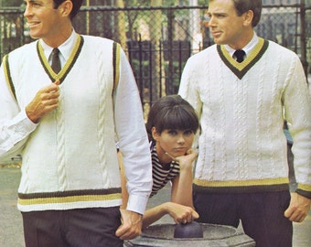 Mens Striped V-Neck Vest Vintage Knitting Pattern PDF, 1960s