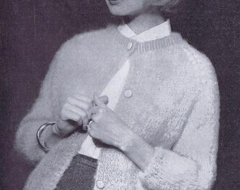 3/4 Sleeve Women's Mohair Cardigan Vintage Knitting Pattern PDF 1950s Women's Fashion