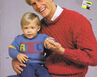 Unger Knitting and Crochet Pattern Book Men and Children's Patterns, c. 1987