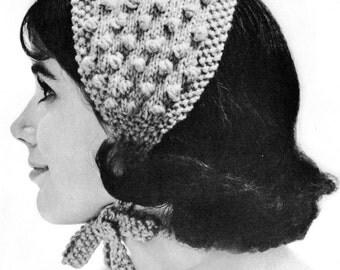 1960s Popcorn Stitch Headband Vintage Knitting Pattern PDF
