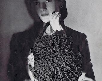 Shell Stitch Circle Crochet Purse Vintage Crochet Pattern PDF, c 1944