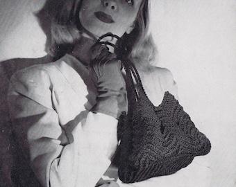 Small Crochet Purse Vintage Crochet Pattern PDF, c 1944